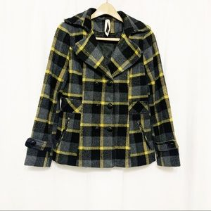 Cotton Candy wool blend yellow plaid pea coat